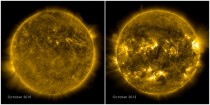 The picture on the left shows a calm sun from Oct  The right side from Oct  shows a much more active and varied solar atmosphere as the sun moves closer to peak solar activity known as solar maximum predicted for