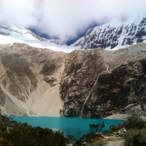 The pictures I took with my camera didnt come out as well as Id hoped but this one taken with my phone almost captures the magnificence of Laguna  in Huascarn National Park Ancash Per