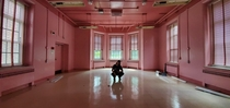 The pink room from the M Knight Shyamalan film Glass Abandoned psychiatric hospital