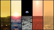 The Plains of Venus Earth Moon Mars and Titan