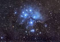 The pleiades shot with a Canon Ti using an equatorial tracking mount out in Atoka Oklahoma bortle
