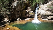 The plunge pool at Blue Hole Falls is a popular summer swimming spot in the Cherokee National Forest in northeastern Tennessee