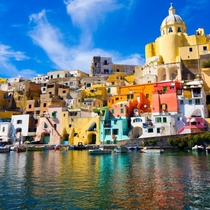 The Port of Corricella on the Italian island of Procida Italy