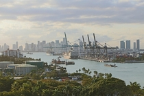 The port of Miami with the downtown Miami skyline in the background