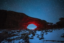 The Portal - Arches National Park Utah Taken just after a fresh snow had fallen Exploring the park at night is probably the best way to explore it  by instagram danielbenjaminphoto