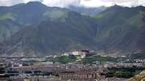 The Potala Palace rises above Lhasa Tibet