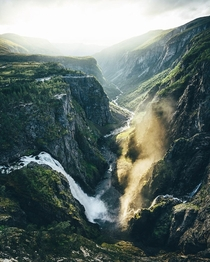 The power of sun and water Vringfossen Norway  Instagram bavarianexplorer