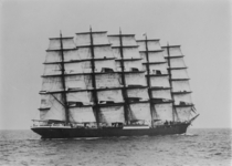 The Preussen with five masts bearing  sails the largest windjammer ultra-large sailing cargo ship ever built