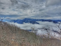 The Priest cloaked in clouds - from Chimney Rock in Three Ridges Wilderness Virginia