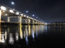 The pumps of Banpo Bridge in Seoul at night