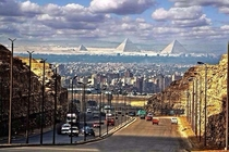 The pyramids as seen from the center of Cairo