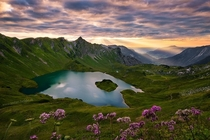 The quiet beauty of an alpine lake Lake Schrecksee m in the Allgaeu Alps Bavaria Germany  Photo by Stefan Hefele