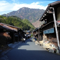 The quiet main street of an old Edo-era post town called Tsumago-juku in the Nagano prefecture Japan