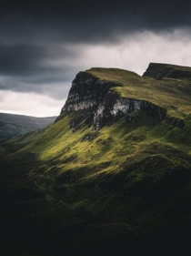 The Quiraing on the Scottish Isle of Skye during a stormy day