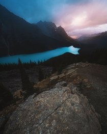The rain is coming in Peyto Lake AB Instagram grantplace