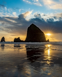 The rain stopped and the sun broke through at sunset - Cannon Beach Oregon