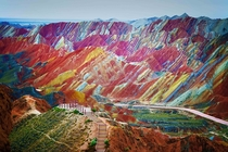 The Rainbow Mountains Red Stones Zhangye Danxia Landform Geological Park China Yes its real  x