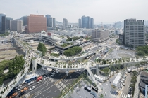 The recently completed Seoullo  Skygarden an abandoned overpass turned elevated park modeled after the High Line in NYC Jung District Seoul South Korea