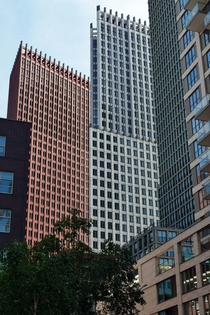 The red and white towers of the JuBi-Building The Hague Architect Hans Kollhoff
