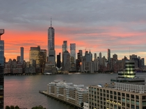 The red sun rises - Downtown Manhattan from Jersey City