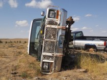 The remains of a late s Ford pickup on the high plains of Eastern Wyoming