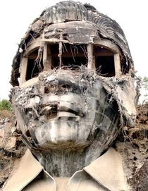 The remains of Ferdinand Marcos concrete giant bust Mt Pugo La Union province Philippines
