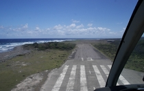 The remains of runway  of the abandoned WH Bramble International Airport Montserrat
