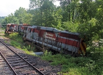 The remains of the iconic train wreck from the movie The Fugitive  left abandoned along a stretch of the Smokey Mountain Railroad in North Carolina