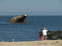 The remains of the WWI concrete ship the SS Atlantus in Cape May NJ