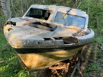 The remnants of a boat Hurricane Katrina put in the forest over  years ago