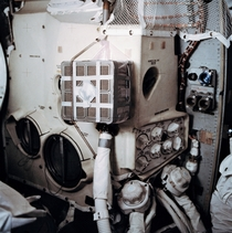 The repair dubbed the mail box that saved the Apollo  astronauts After an oxygen tank exploded the three men had to retreat to the Lunar Module and use duct tape plastic bags and lithium hydroxide canisters to build a makeshift CO scrubber