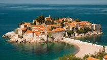 The restored village of Sveti Stefan Montenegro which is now a luxury resort  photo by Sergey Simonyan