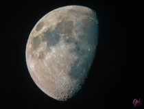The result of stacking several thousand pictures of the moon in RGB
