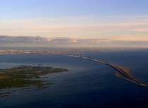 The resund Bridge from Denmark to Sweden