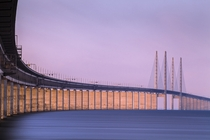 The resund Bridge the longest combined road and rail bridge in Europe which connects Copenhagen and Malm  Photographed by Mabry Campbell