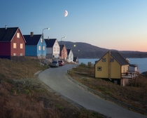 The Return Town of Qaqortoq in the Evening South Greenland