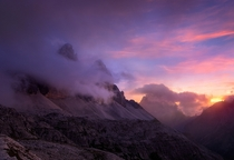 The reward after a wonderful long hike Magnificent Sunset at Alps Europe by Hipydeus