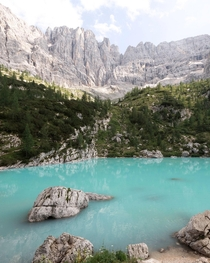 The reward at the end of the hike Lago di Sorapis Italy