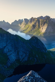 The reward from the top of the Reinebringen hike in Lofoten Norway