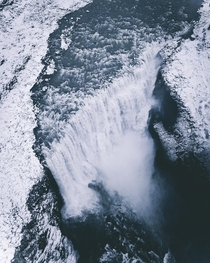 The Roaring Falls of Dettifoss in Northern Iceland During the Winter Months