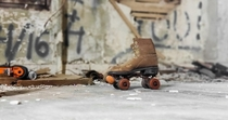 The roller rink burnt down but all the roller skates were left to rot
