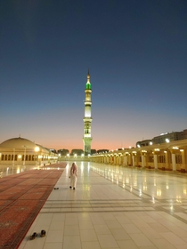 The roof of Masjid-Al-Nabwi Prophets Mosque moments before sunset Medina Saudi Arabia