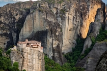 The Rousanou Monastery above Meteora Greece It took its present form in the early th century by the monks and brothers Ioasaf and Maxim from Ioannina