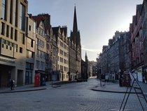 The Royal Mile Edinburgh Scotland Eerily quiet and free from tourists during lockdown