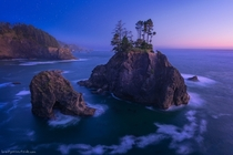 The rugged coastline of southwest Oregon Samuel H Boardman St Park after the sun set