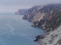 The rugged shoreline and tall cliffs of Cape Chignecto NS along the Bay of Fundy