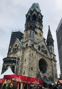 The ruin of the Kaiser Wilhelm Memorial Church was badly damaged in a bomb attack in  It was not rebuilt as a reminder of the World War II  OC