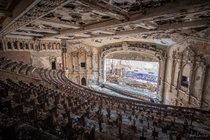 The ruined auditorium of Cooley Highschool in Detroit MI