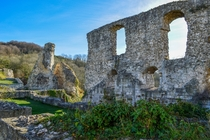 The ruins of a medieval fort in Normandy France