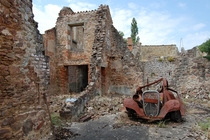 The ruins of Oradour-sur-Glane destroyed during WWII and never rebuilt to serve as a monument